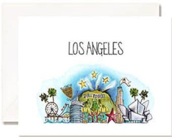 Los Angeles - LA - Illustration Card - Set of 10 - A2 Blank