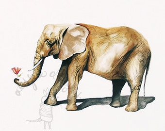 Elephant with Flower Print - Watercolor