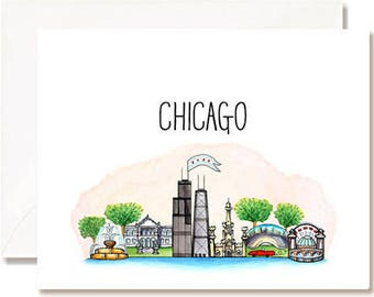 Chicago Illustration Card - Handmade - Set of 10 - A2 Blank