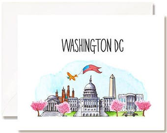 Washington DC Illustration Card - Handmade - Set of 10 - A2 Blank