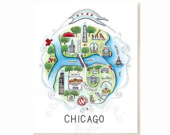 Chicago City Map Art Print - Watercolor