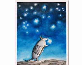Armadillo with Stars Illustrated Art Print - 'Little Light of Mine'- LIMITED SIGNED PRINT