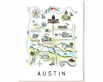 Austin City Map Art Print - Watercolor