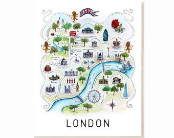 London City Map Art Print - Watercolor Illustration
