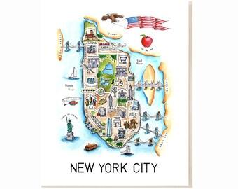 New York City Map Art Print - Watercolor