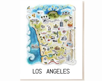 Los Angeles City Map Art Print - Watercolor