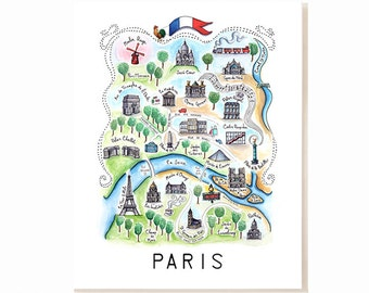 Paris City Map Art Print - Watercolor