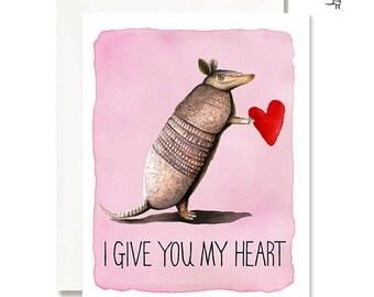 Customizable Card - Armadillo Love Card -Handmade - A2