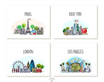 Paris, London, New York, Los Angeles Cards - Handmade - Set of 8 - A2 Blank