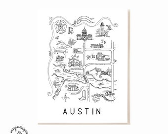 Austin City Map Art Print - Black & White
