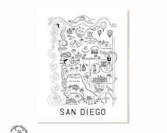 San Diego City Map Art Print - Black & White