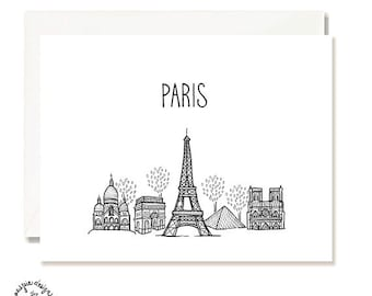 Paris Black and White Illustration Card - Handmade - Set of 10 - A2 Blank