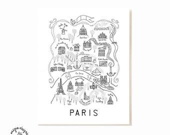Paris City Map Art Print - Black & White