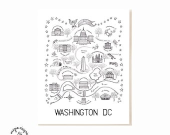 Washington DC City Map Art Print - Black & White