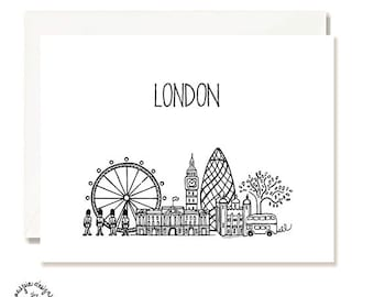 London Black and White Illustration Card - Handmade - Set of 10- A2 Blank