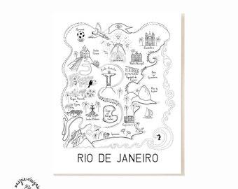 Rio de Janeiro City Map Art Print - Black & White