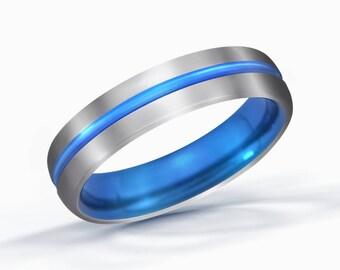 Blue Line Titanium Ring, Wedding Band