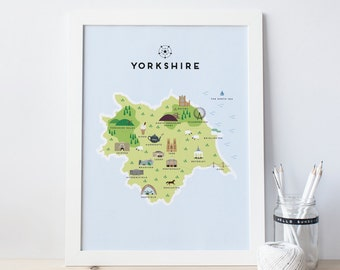 Map of Yorkshire - Illustrated map of Yorkshire Print / Travel Gifts / Gifts for Travellers / United Kingdom / Great Britain