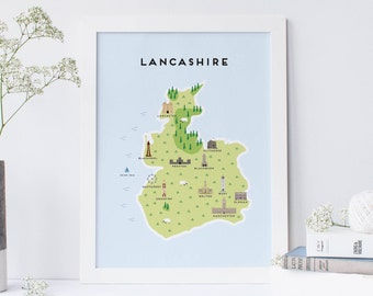 Lancashire Map - Illustrated Map of Lancashire Print / Travel Gifts / Gifts for Travellers / United Kingdom / Great Britain