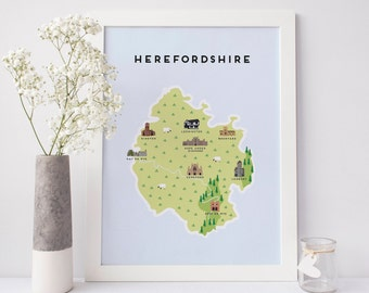 Map of Herefordshire - Illustrated Map of Herefordshire Print / Travel Gifts / Gifts for Travellers / United Kingdom / Great Britain