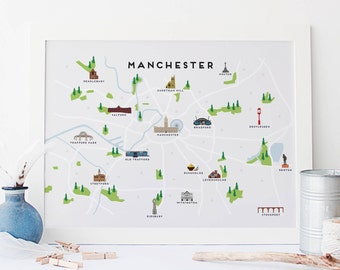 Manchester Map Etsy