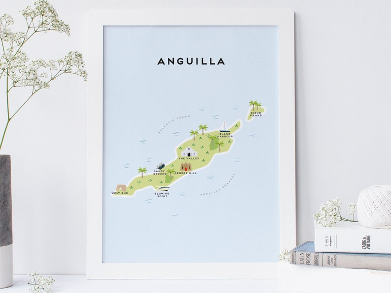 Map of Anguilla Illustrated Map of Anguilla Print / Travel   Etsy Caribbean Anguilla Map on