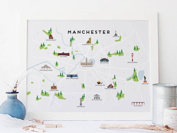 Manchester Cartina.Manchester Map Illustrated Map Of Manchester Print Travel Gifts Gifts For Travellers United Kingdom Great Britain