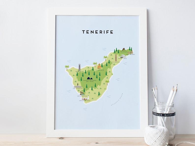 Karte Von Teneriffa.Karte Von Teneriffa Illustrierte Karte Von Teneriffa Druck Reise Geschenke Geschenke Für Reisende Kanarische Inseln