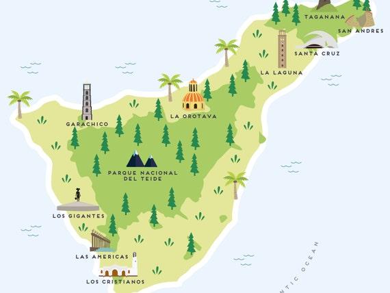 Teneriffa Karte.Karte Von Teneriffa Illustrierte Karte Von Teneriffa Druck Reise Geschenke Geschenke Fur Reisende Kanarische Inseln