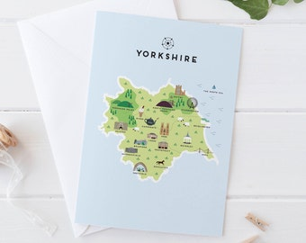 Yorkshire Map Greetings Card / Travel Gifts / Gifts for Travellers / United Kingdom / Great Britain