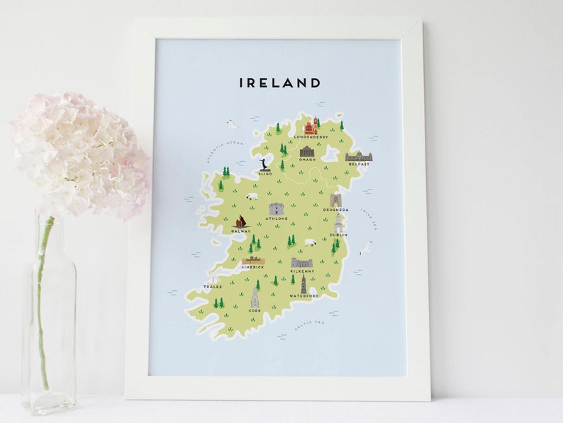 Map Of Ireland Please.Map Of Ireland Illustrated Map Of Ireland Print Travel Gifts Gifts For Travellers United Kingdom Great Britain