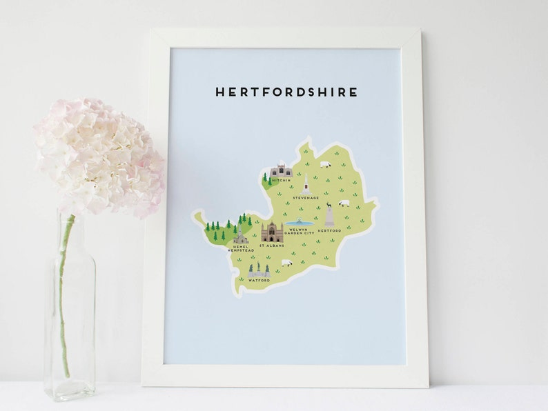 Hertfordshire Map Illustrated Map of Hertfordshire Print  Travel Gifts  Gifts for Travellers  United Kingdom  Great Britain