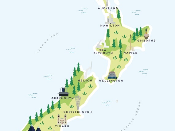 Map of New Zealand - Illustrated Map of New Zealand Print / Travel Gifts /  Gifts for Travellers