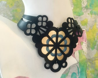 Black Rubber and Gold and Blue Acrylic Daisy Cluster Choker Statement Piece