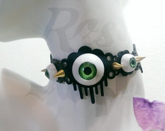 Eyeball Choker with Spiked Studs Silicone Rubber