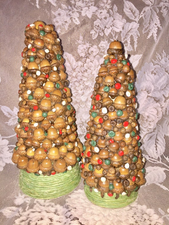 Colorful Christmas Tree Images.Colorful Christmas Acorn Tabletop Trees Rustic Holiday Mantle Christmas Trees Mini Xmas Trees Primitive Rustic Decor Handmade Decor