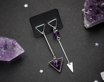Triangles earrings with natural purple amethyst