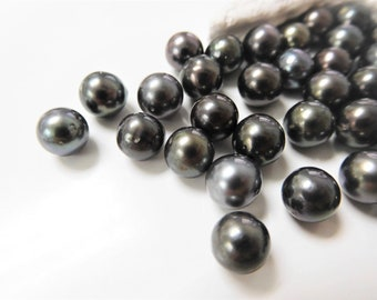 7-8mm Dark Round/Semi-Round Loose Tahitian Pearls