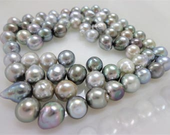 8mm Silver Circle-Drop/Baroque Loose Tahitian Pearls