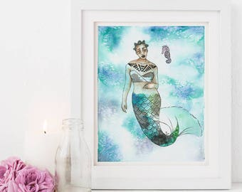 Shaada |  Inked Mermaids, green, sea, seahorse, blue, ink, natural hair, watercolor, home decor, carefree black girl, black girl magic