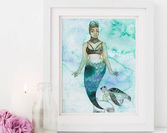 Takara | Inked Mermaids, turtle, green, sea, blue, ink, orange, natural hair, watercolor, home deco, carefree black girl, black girl magic