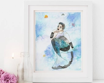Quinzy |  Inked Mermaids, green, sea, jellyfish, blue, ink, natural hair, watercolor, home decoration, carefree black girl, black girl magic