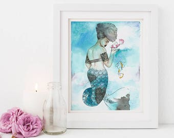 Midori | Inked Mermaids, green, sea, koi, blue, ink, orange, natural hair, watercolor, home deco, carefree black girl, black girl magic