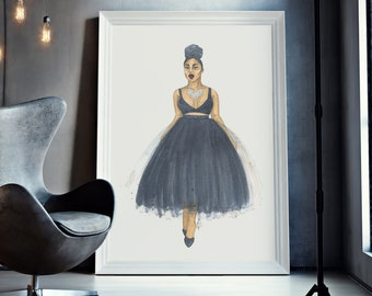 Boss Babe | fashion illustration, confident, birthday, chic, black, painting, wall decoration, watercolor, black art, black girl magic