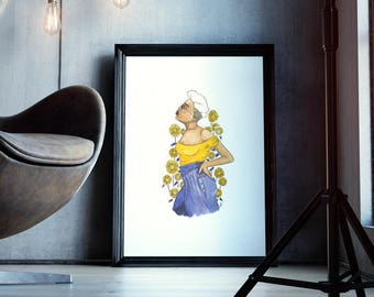 To the Sky | fashion illustration, yellow, blue, natural hair, ink, flowers, afropunk, original, watercolor, black art, carefree black girl