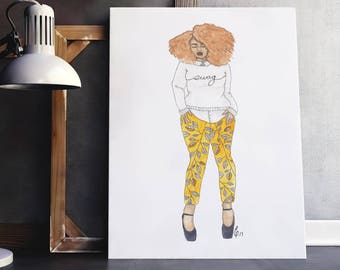 Fros & Foliage | fashion illustration, orange, natural hair, fro, ink, watercolor, black art, home decoration, carefree black girl
