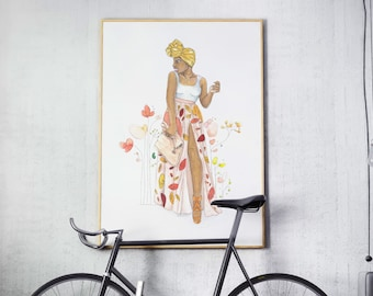 Spring in Her Step | fashion illustration, red, yellow, orange, florals, wall decoration, watercolor, black art, carefree black girl