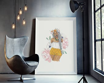 In the Sun | fashion illustration, yellow, pink, blue, natural hair, ink, flowers, afropunk, watercolor, black art, carefree black girl