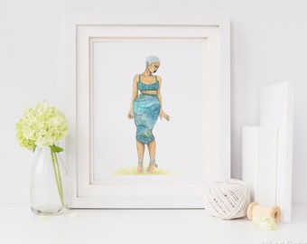 Fish Out of Water 2 | fashion illustration print, mermaid, sea, blue, green, watercolor, black art, home decoration, carefree black girl