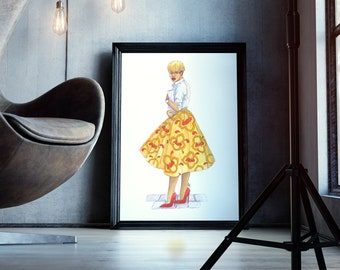 City Chic | fashion illustration, bright, red, yellow, orange, painting, wall decoration, watercolor, black art, carefree black girl